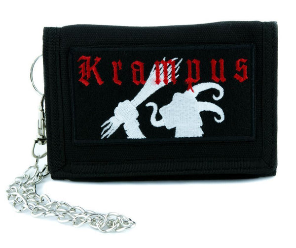 Gruss Vom Krampus Tri-fold Wallet w/ Chain Occult Merry Christmas