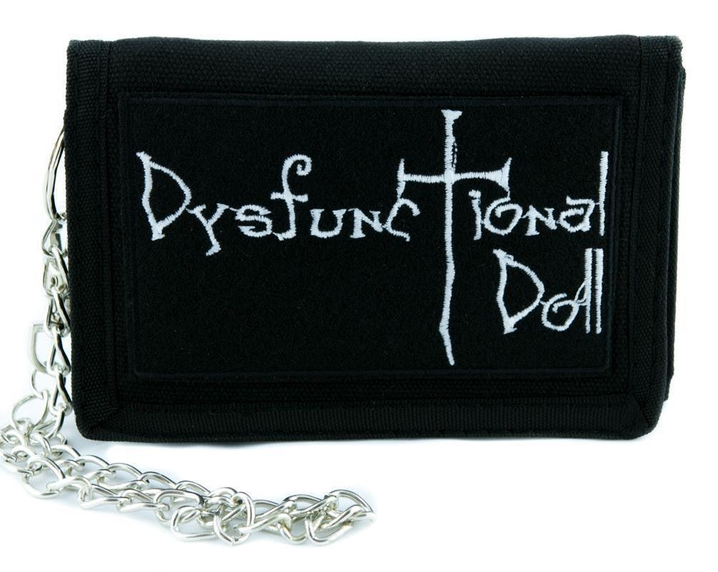 Dysfunctional Doll Tri-fold Wallet w/ Chain Goth Punk Metal Occult