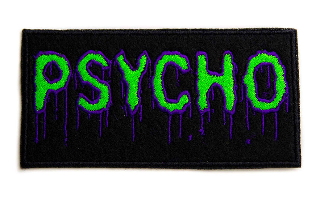 Psycho Purple & Green Drip Melting Iron on Applique Occult Horror Clothing