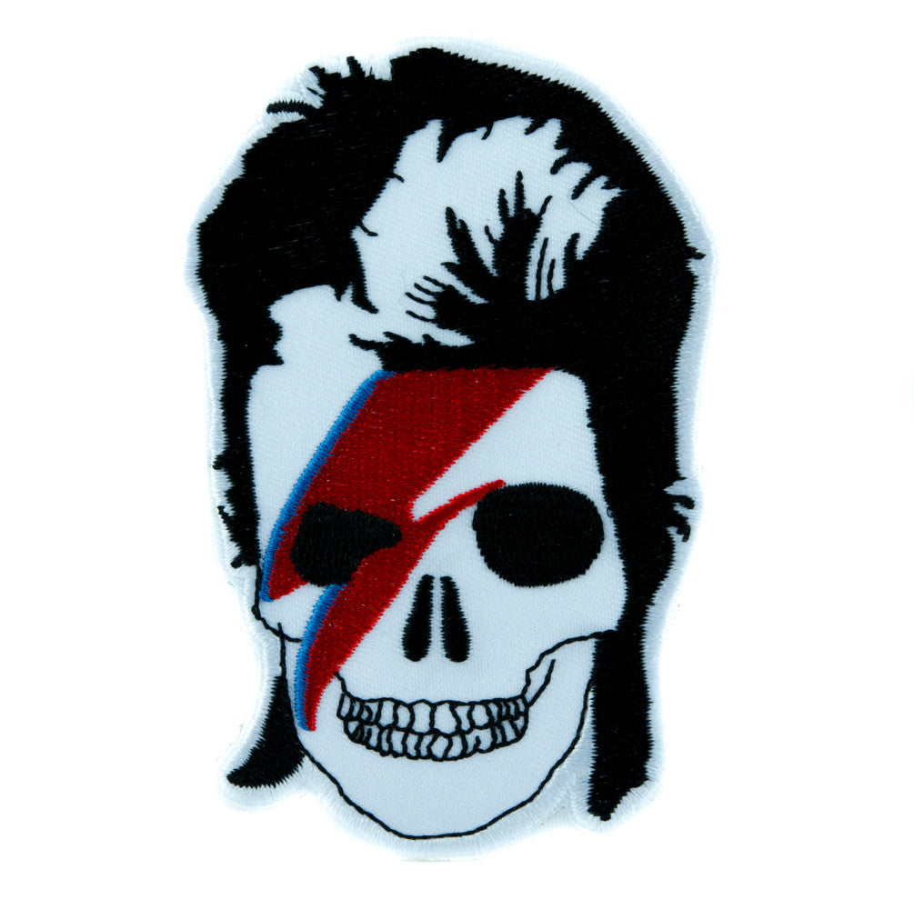 David Bowie Skull Lightning Bolt Patch Iron on Applique Ziggy Stardust