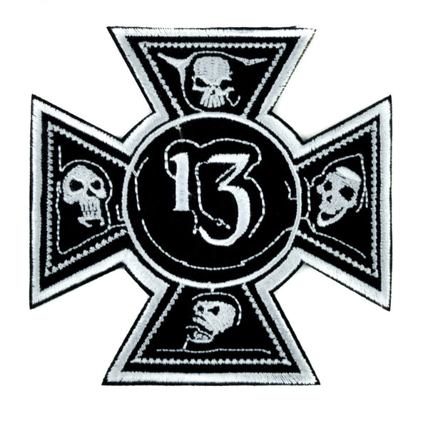 Number 13 Iron Cross Skull Patch Iron on Applique Alternative Gothic Clothing