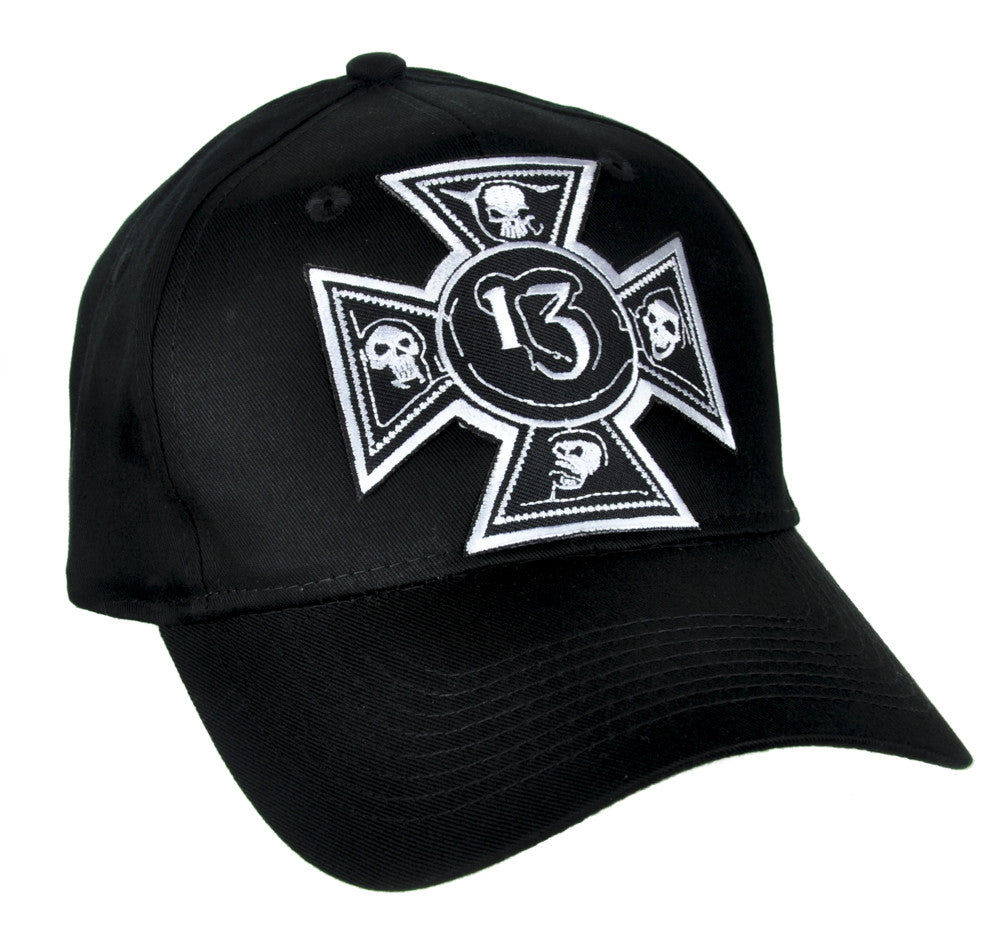 Number 13 Iron Cross Skull Hat Baseball Cap Alternative Clothing Lucky 13