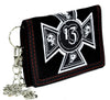 Number 13 Iron Cross Skull Tri-fold Wallet with Chain Alternative Clothing