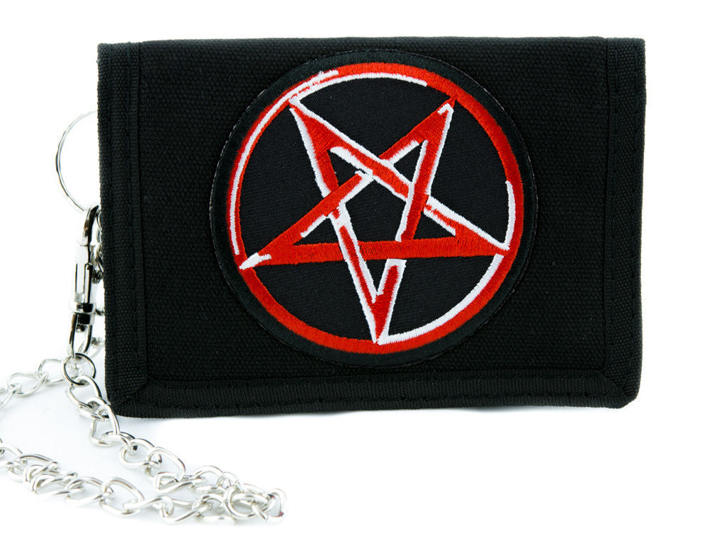 Pentagram Tri-fold Wallet w/ Chain Occult Clothing