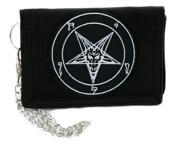 White Classic Sigil of Baphomet Pentagram Tri-fold Wallet w/ Chain Occult