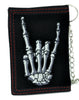 Skeleton Horns Up Metal Sign Tri-fold Wallet with Chain Alternative Clothing