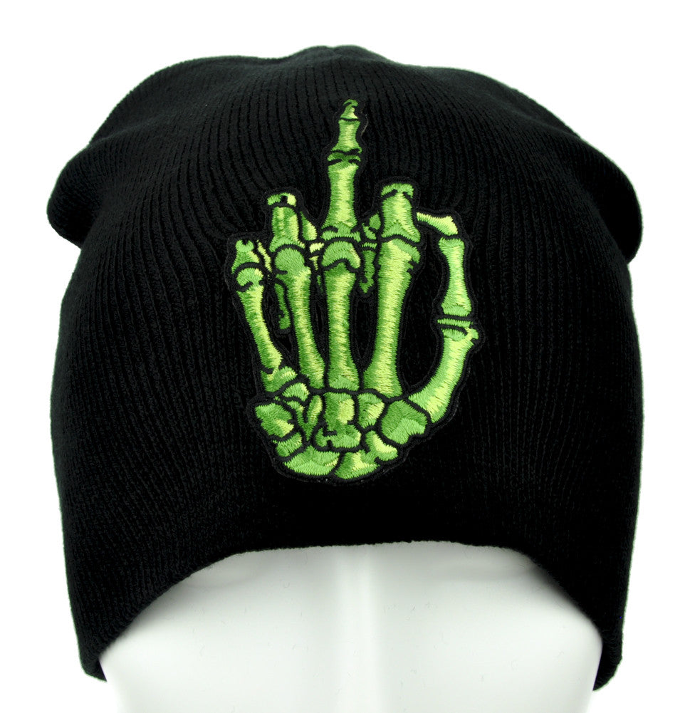 Green Skeleton Hand Middle Finger Beanie Alternative Punk Clothing Knit Cap