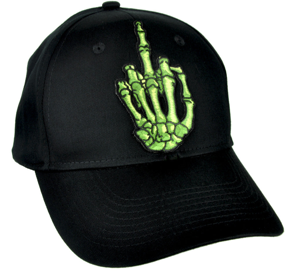 Green Skeleton Hand Middle Finger Hat Baseball Cap Skater Thrasher Clothing
