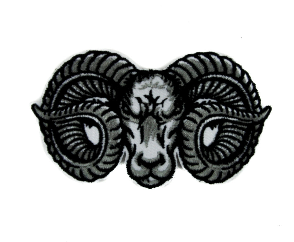 Evil Ram Horns Goat Head Patch Iron on Applique Alternative Metal Clothing