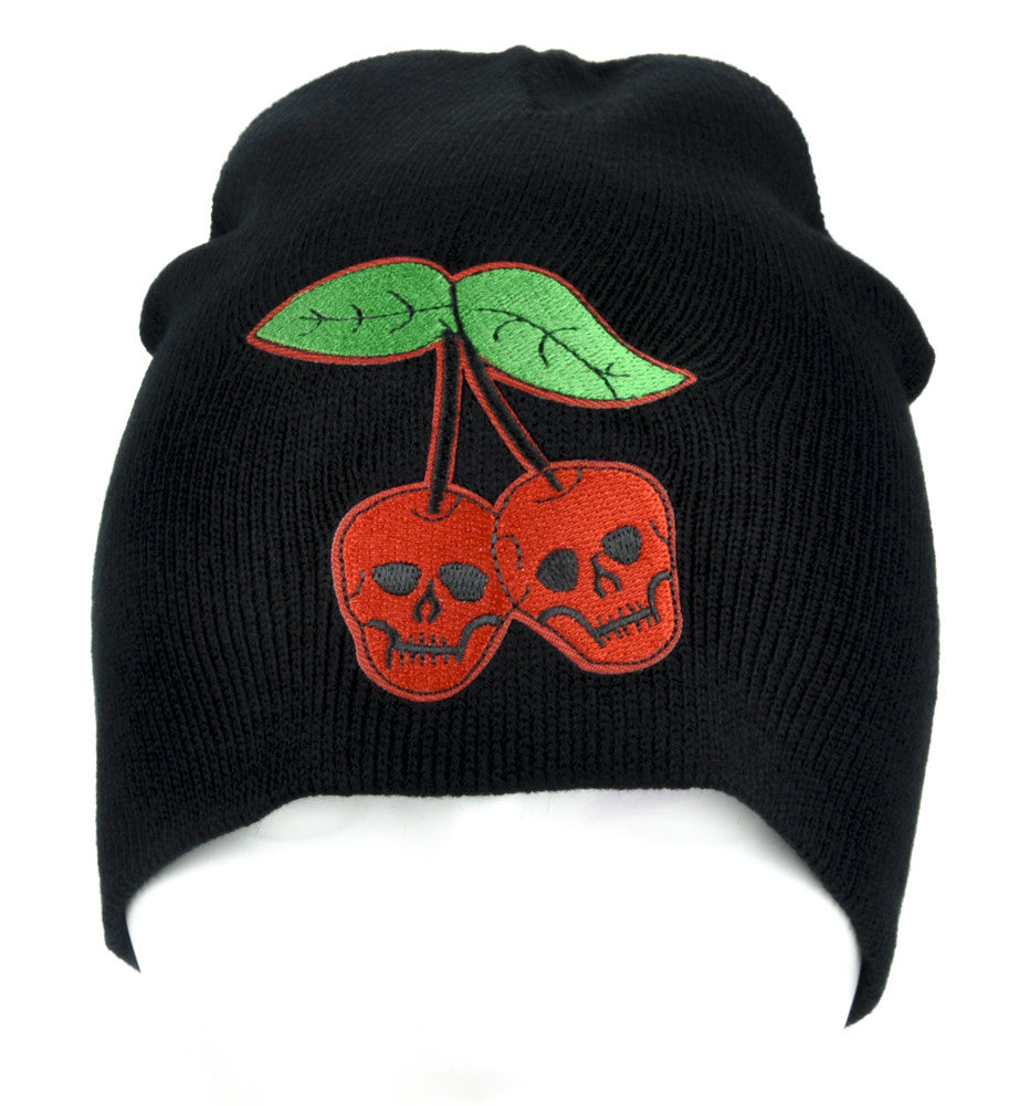 Skull Cherries Beanie Knit Cap Alternative Rock Clothing Virgin