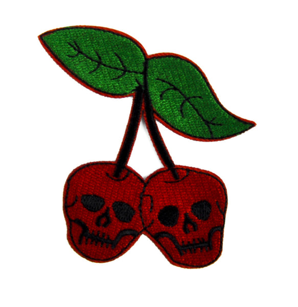 Skull Cherries Patch Iron on Applique Alternative Clothing Virgin Death