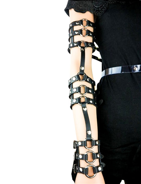 Gothic Black Leather Triple Stappy & O-Ring Wrist Bracelet Arm Harness
