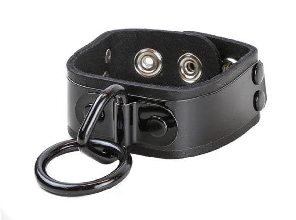 "Black Metal Plate w/ O-Ring Leather Wristband Bracelet Cuff 1"" Wide"
