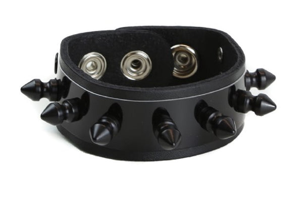"Black Metal Plate w/ Spikes Leather Wristband Bracelet Cuff 1"" Wide"