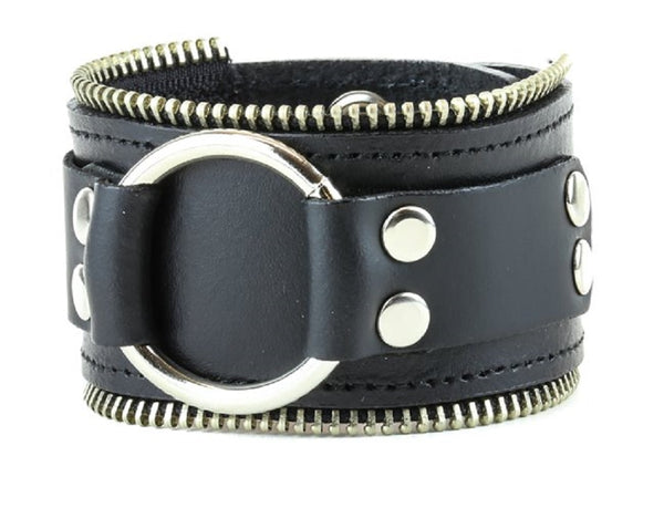 "Large O-Ring w/ Zipper Trim Leather Wristband Bondage Bracelet 2"" Wide"