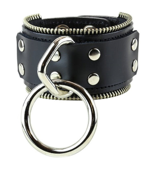 "Hanging O-Ring w/Strap & Zipper Trim Leather Wristband Bondage Bracelet 2"" Wide"