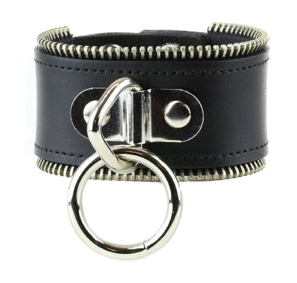 "Hanging O-Ring & Zipper Trim Leather Wristband Bondage Bracelet 2"" Wide"