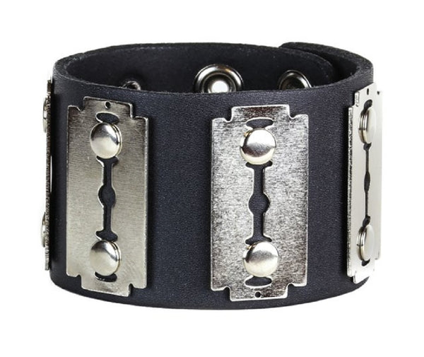 "Silver Razor Blades Black Leather Wristband Bondage Bracelet 2"" Wide"