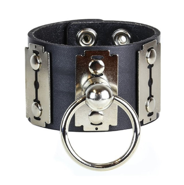 "Silver Razor Blades & O-Ring Black Leather Wristband Bondage Bracelet 2"" Wide"