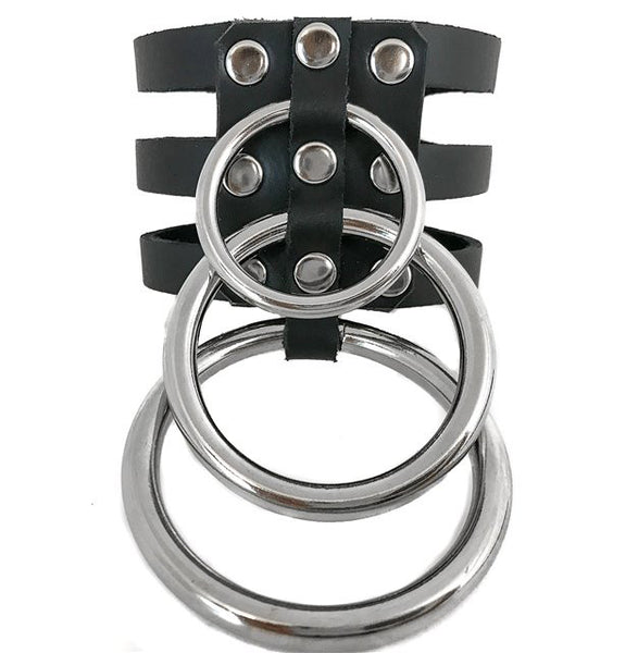 Black Leather 3 Strap Wristband Cuff w/ 3 Silver O Rings