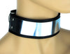 "Silver Metal Plate Choker Gothic Deathrock Leather Collar 1-3/4"" Wide"