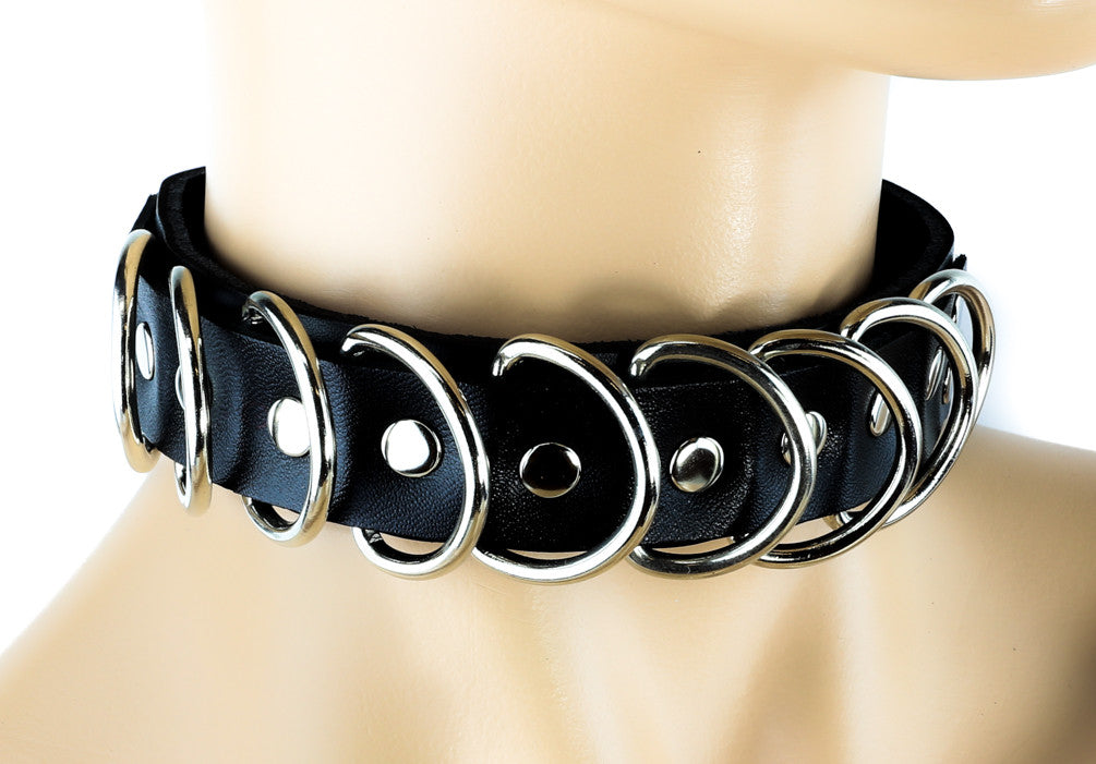 "Multi D Ring Rivet Real Leather Choker 1"" Wide Cosplay Collar"
