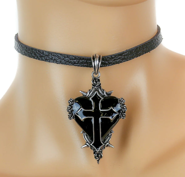 Black Sacred Heart Gothic Cross Leather Choker Necklace Deathrock Jewelry