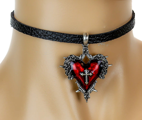 Red Sacred Heart Gothic Cross Leather Choker Necklace Deathrock Jewelry