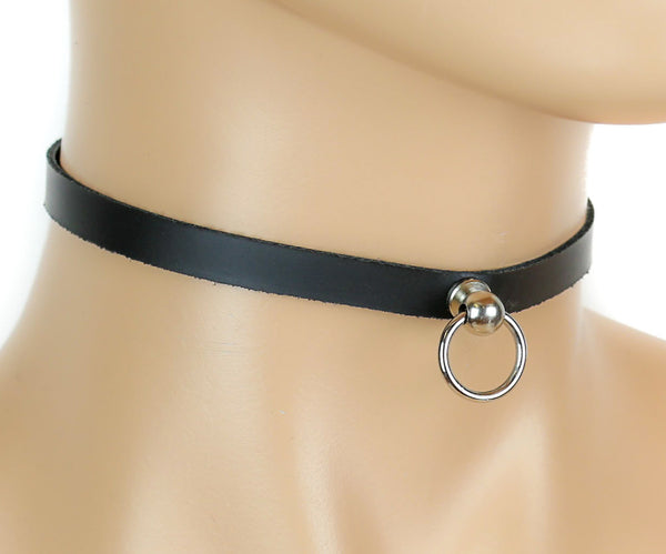Mini Door Knocker O Ring Leather Choker Necklace Fetish Bondage Jewelry