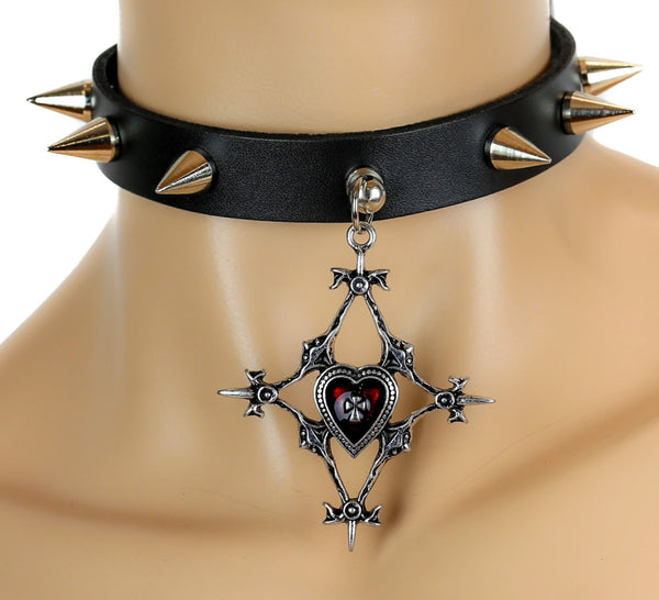 Elegant Gothic Heart Cross Spike Leather Choker Deathrock Necklace Alternative Clothing