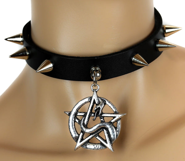 Serpent Snake Pentagram Spike Leather Choker Deathrock Necklace Alternative Clothing