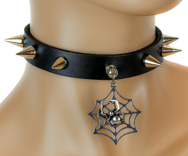Black Widow Spider Web Spike Leather Choker Deathrock Necklace Alternative Clothing