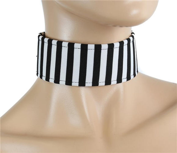 "Black & White Stripe Beetlejuice 1 3/4"" Wide Choker w/ Buckle Strap"