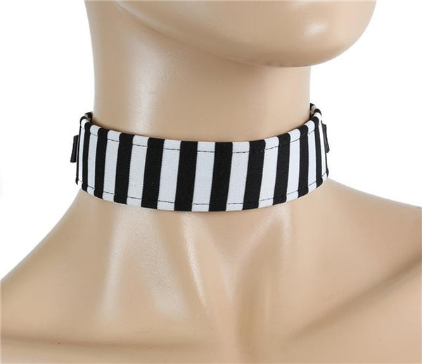 "Black & White Stripe Beetlejuice 1 1/4"" Wide Choker w/ Buckle Strap"