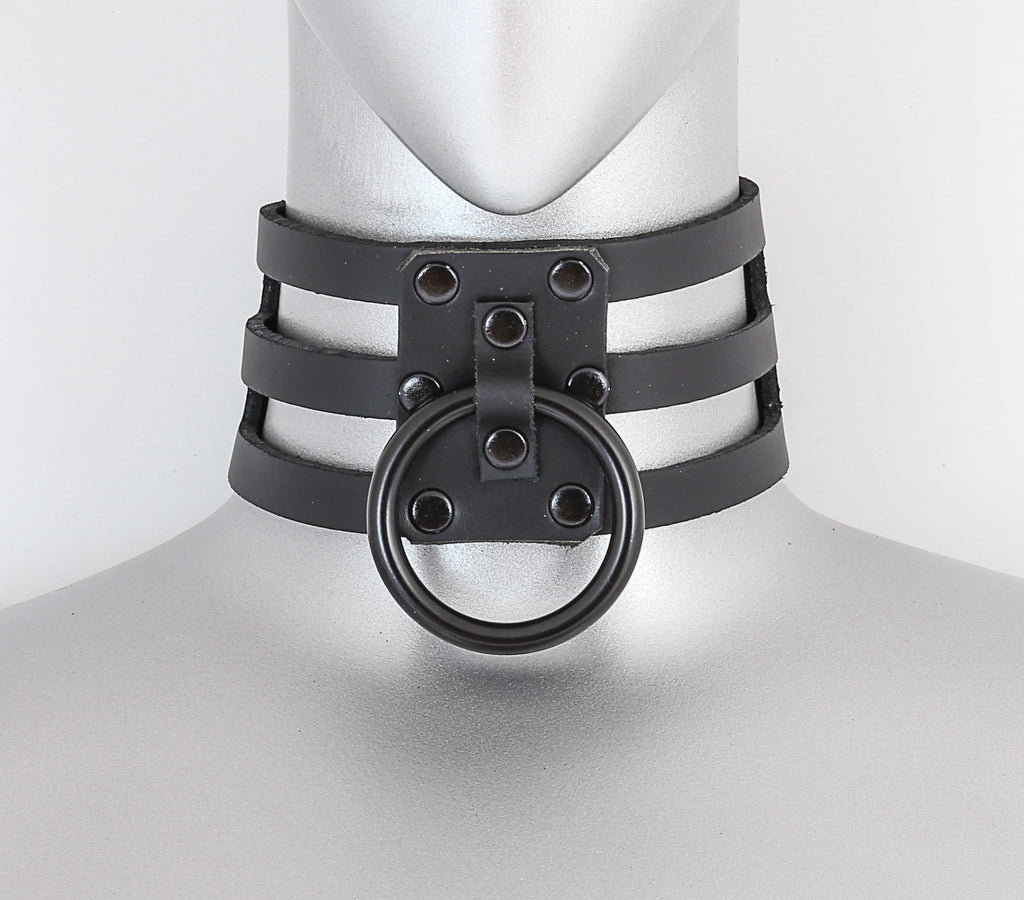 Black Leather 3 Strap Choker Necklace w/ 1 Black O Ring