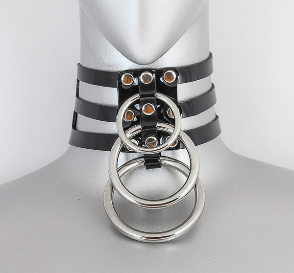 Black Vinyl 3 Strap Choker Necklace w/ 3 Silver O Rings