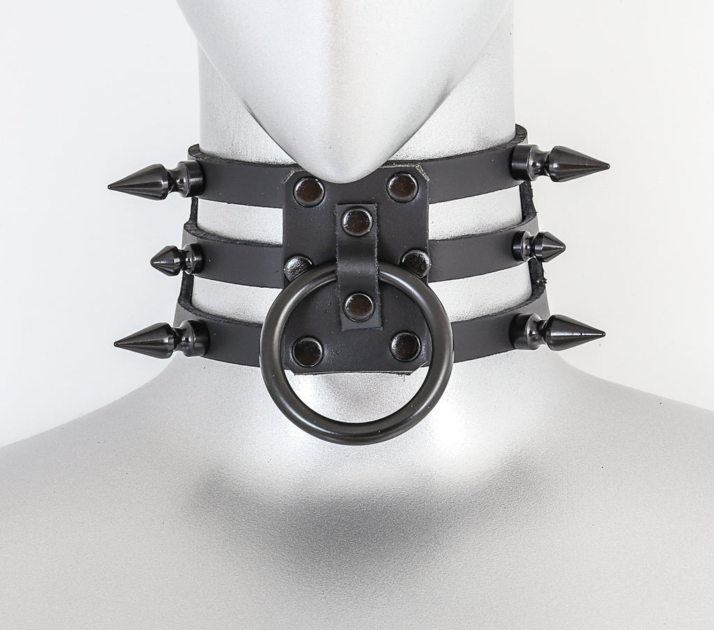 Black Leather 3 Strap Choker Necklace w/ 1 Black O Rings & 6 Spikes