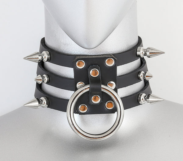 Black Leather 3 Strap Choker Necklace w/ 1 Silver O Rings & 6 Spikes