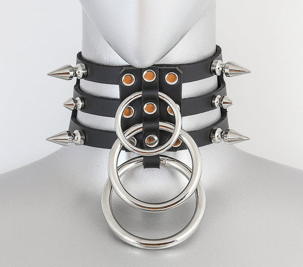 Black Leather 3 Strap Choker Necklace w/ 3 Silver O Rings & 6 Spikes