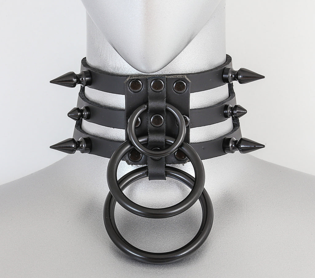 Black Leather 3 Strap Choker Necklace w/ 3 Black O Rings & 6 Spikes