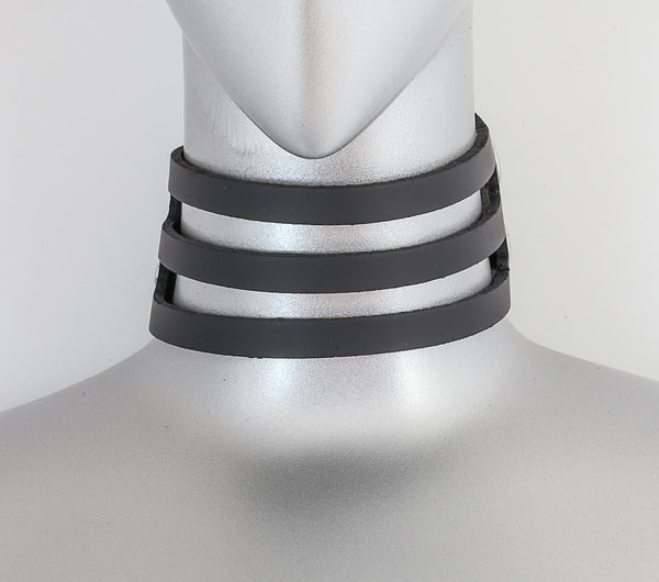 Black Leather 3 Strap Strap Choker Necklace Alternative