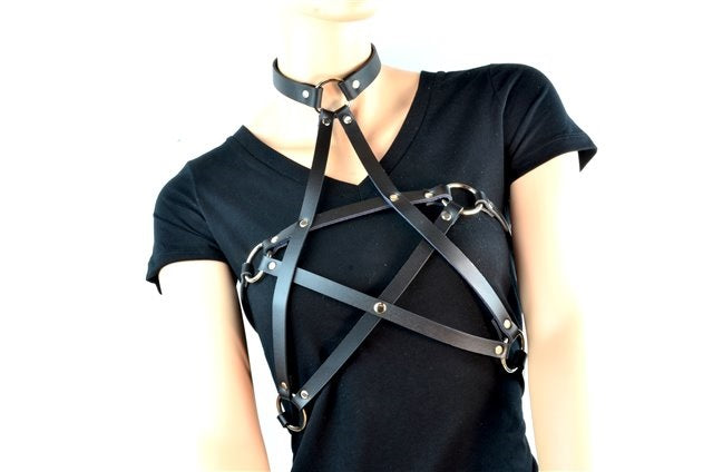 Pentagram Black Leather Women's Fashion Harness Choker w/ O-rings