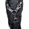 Double Silver O Ring Black Leather Thigh Leg Harness