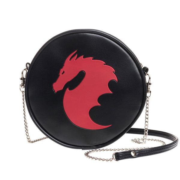 Red Dragon Round Embossed Purse Shoulder Bag