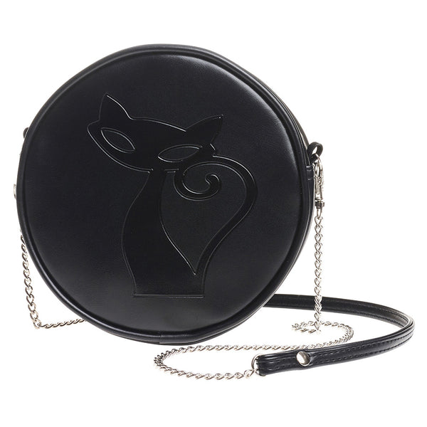 Black Kitty Cat Round Embossed Purse Shoulder Bag
