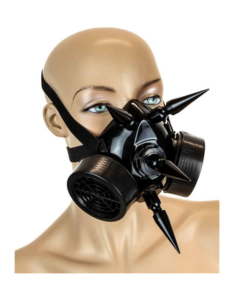 "Black Gas Mask Respirator w/ 3"" Black Spikes Cyber Goth Cosplay"