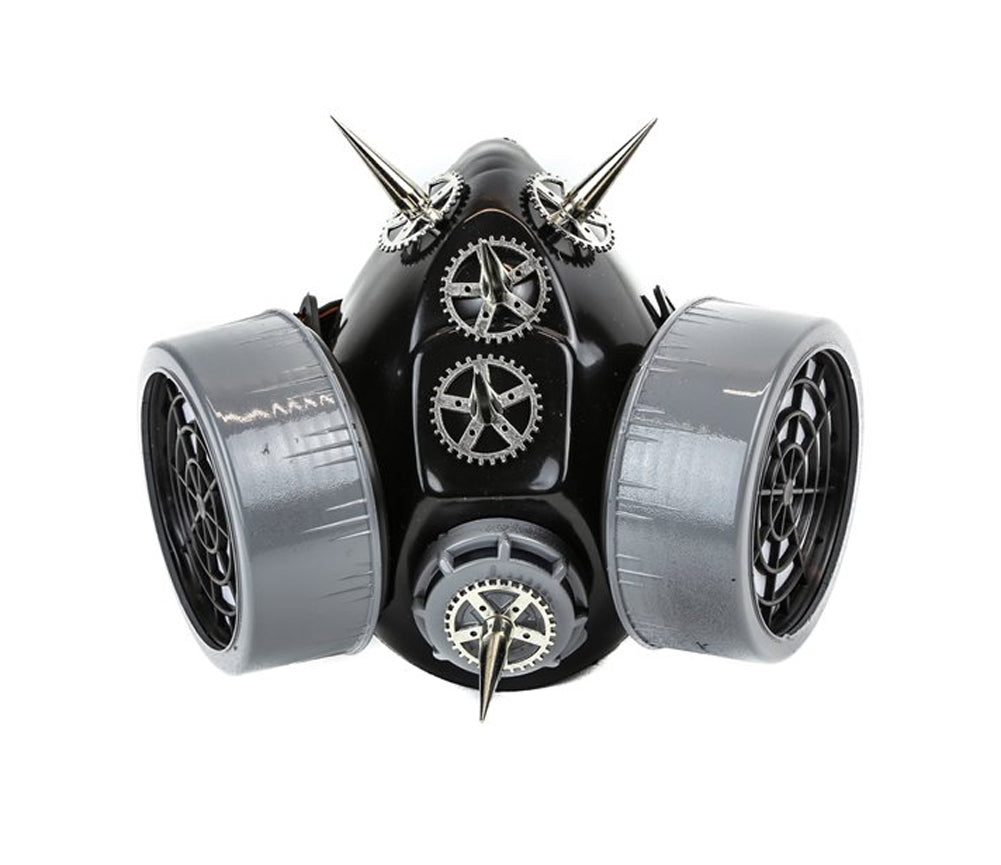 Black & Silver Steampunk Cogs, Gears & Spikes Gas Mask Respirator Cosplay