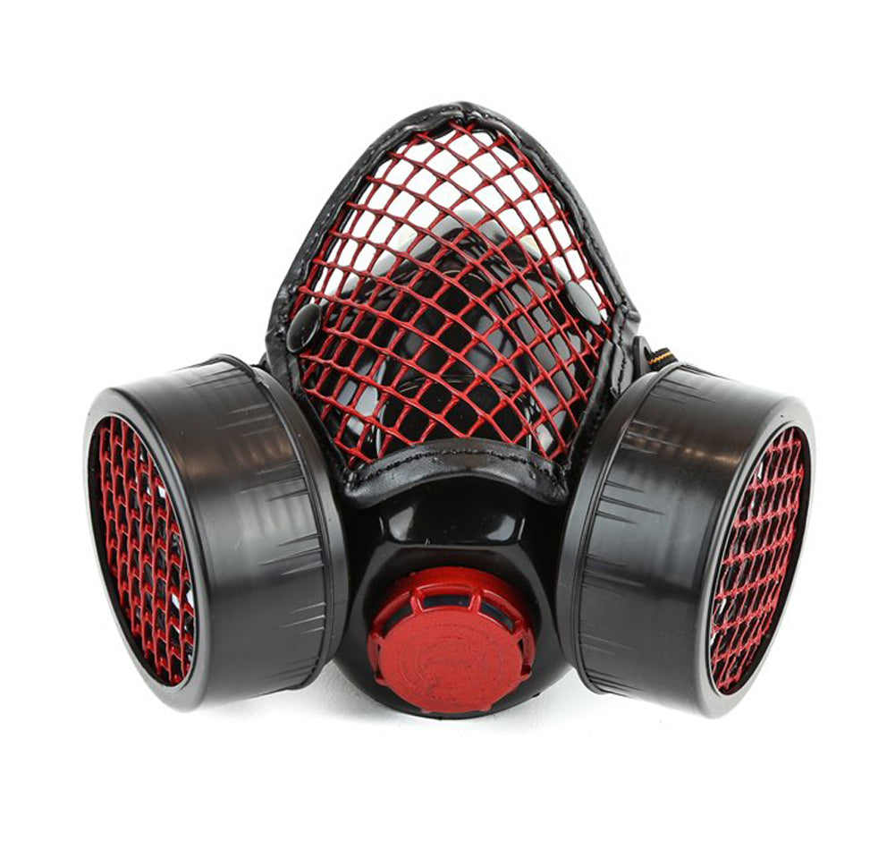 Black & Red Fishnet Mesh Wire Guard Gas Mask Respirator Cyber Goth Cosplay