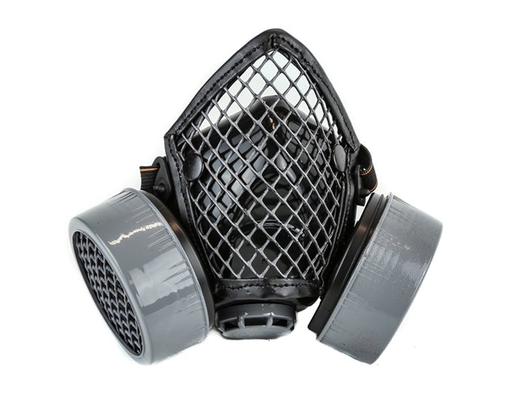 Black & Silver Fishnet Mesh Wire Guard Gas Mask Respirator Cyber Goth Cosplay