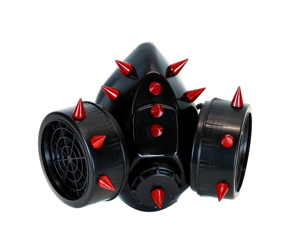 Red Metal Short Spikes Gas Mask Respirator Cyber Goth Cosplay